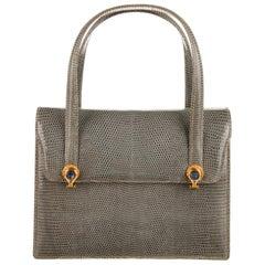 1960s GUCCi Lizard and Lapis Handbag, with box