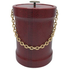 1960s Gucci Style Red Snakeskin Ice Bucket with Gold Chain