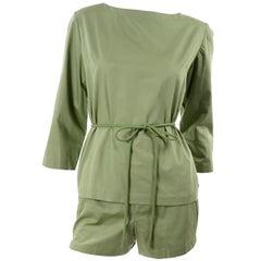 1960s H Cosentino Capri Italian Vintage Cotton Green Shorts & Top Set With Belt