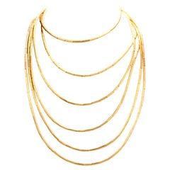 1960s H. Stern Fluid Gold Collection Bamboo Barrel Link 18 Karat Necklace