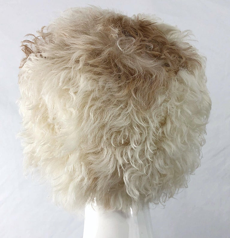 1960s Halston Ivory White Brown Mongolian Lamb Fur Vintage 60s Hat and Muff Rare For Sale 1