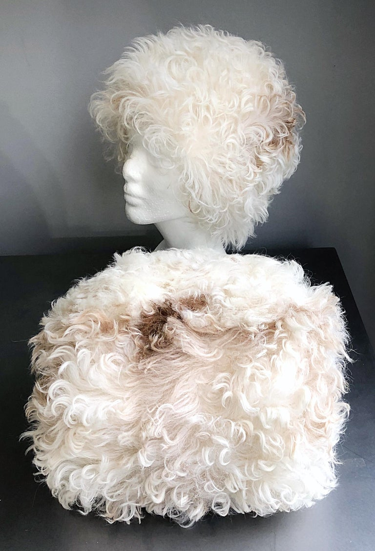 1960s Halston Ivory White Brown Mongolian Lamb Fur Vintage 60s Hat and Muff Rare For Sale 2