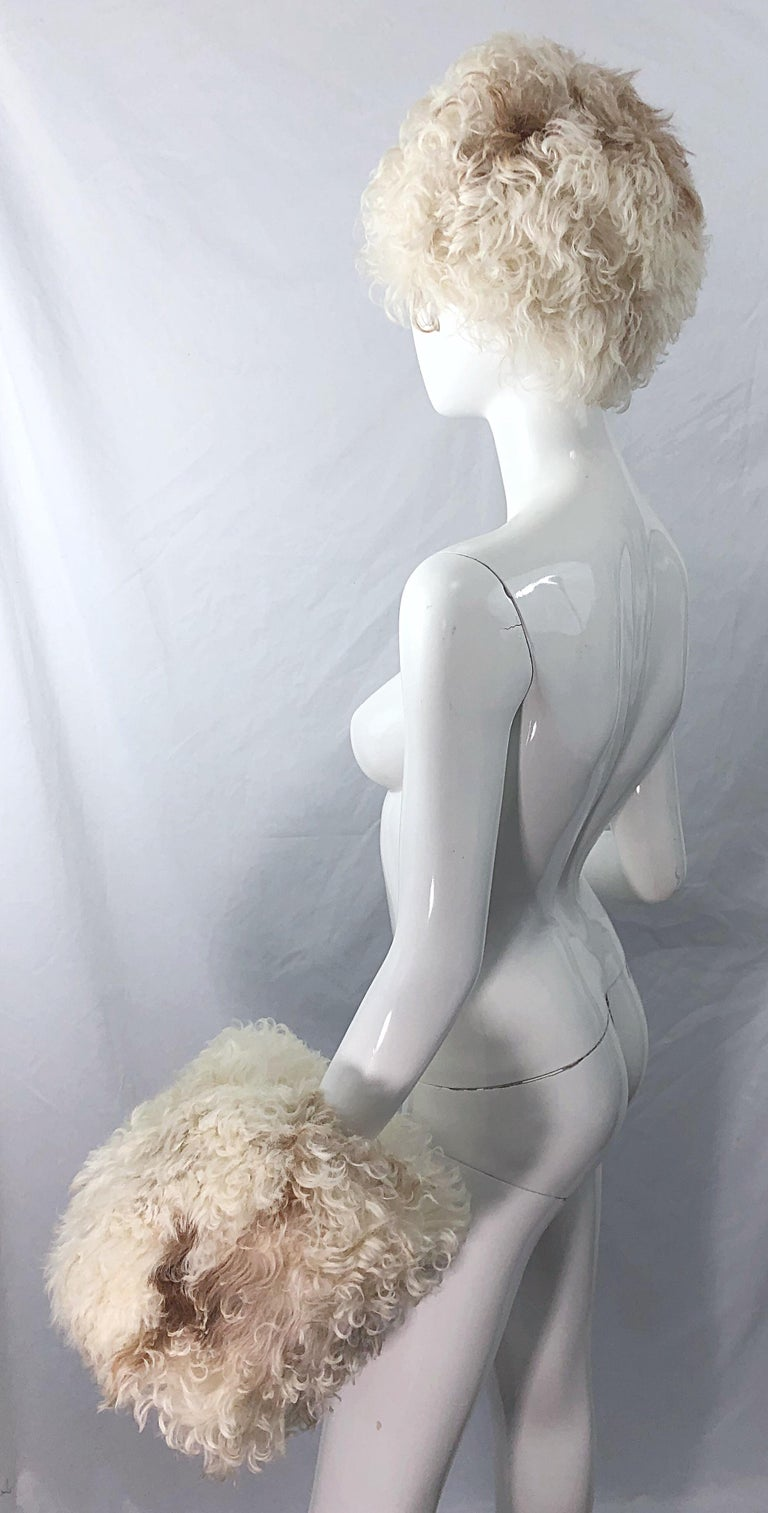 1960s Halston Ivory White Brown Mongolian Lamb Fur Vintage 60s Hat and Muff Rare For Sale 3