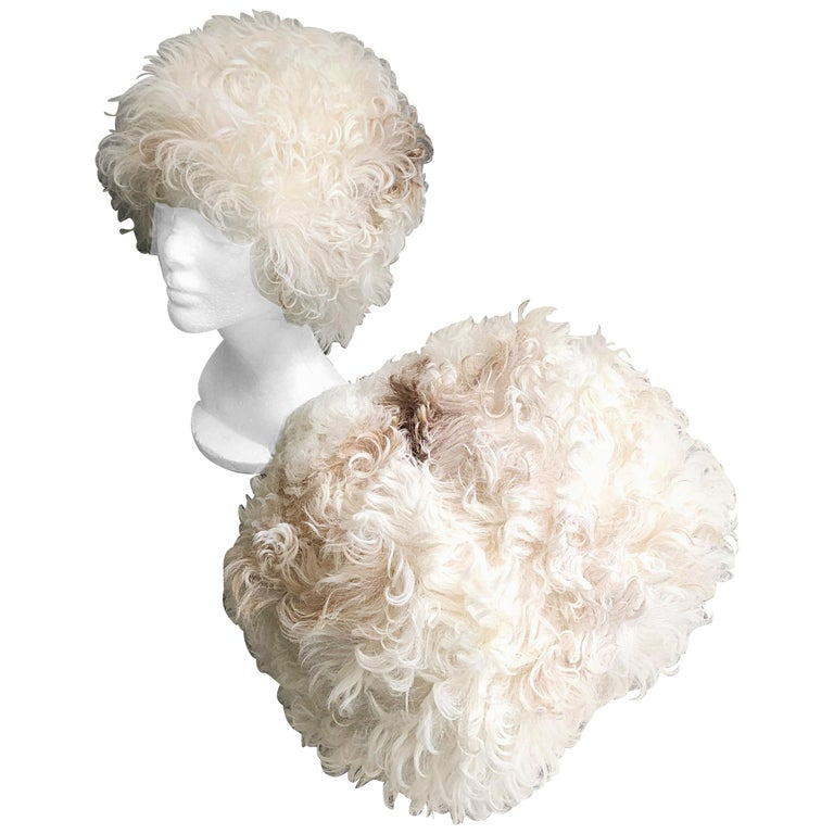 1960s Halston Ivory White Brown Mongolian Lamb Fur Vintage 60s Hat and Muff Rare For Sale