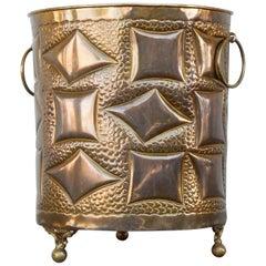 Artisan Hammered Cubism Design Brass Cachepot
