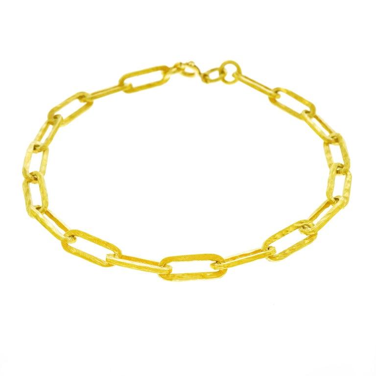 1960s Hammered Gold Link Bracelet