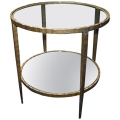1960s Hammered Iron Two Tiers Round Side Table