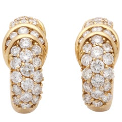 1960s Hammerman Half Hoop Design Diamond and Gold Clip-On Earrings with Posts