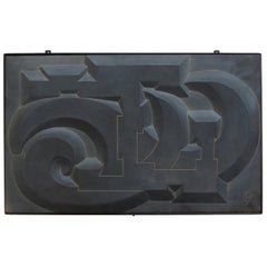 1960s Hand Carved Abstract Modernist Blue Slate Wall Hanging Sculpture
