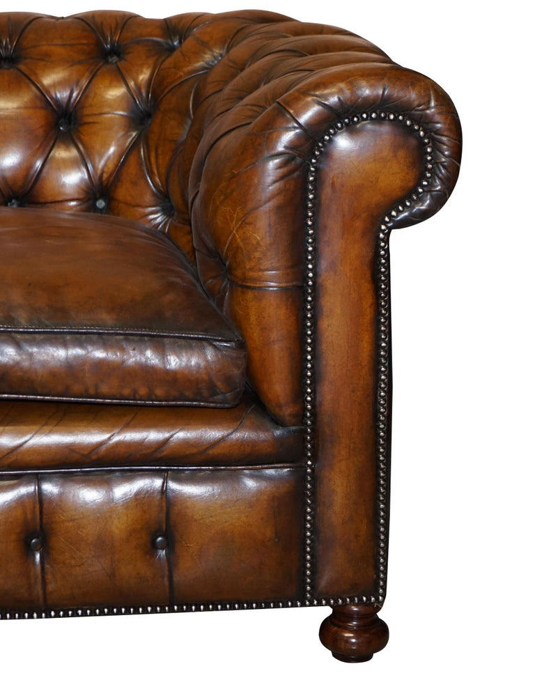 1960s Hand Dyed Restored Cigar Brown Leather Chesterfield Club Sofa English For Sale 4