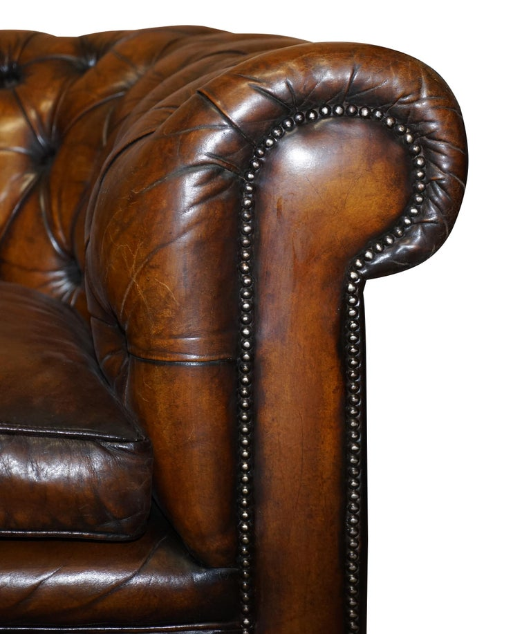 1960s Hand Dyed Restored Cigar Brown Leather Chesterfield Club Sofa English For Sale 5