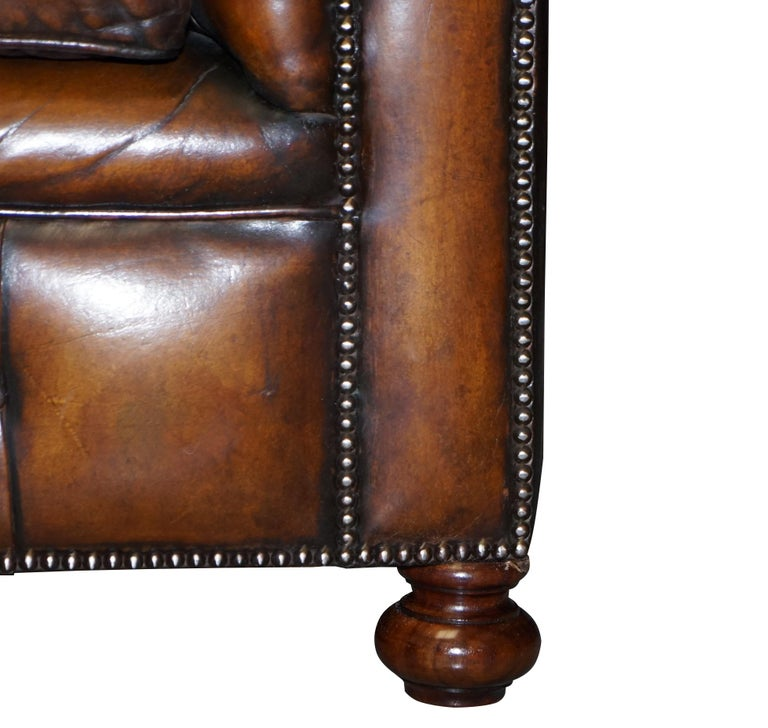 1960s Hand Dyed Restored Cigar Brown Leather Chesterfield Club Sofa English For Sale 6