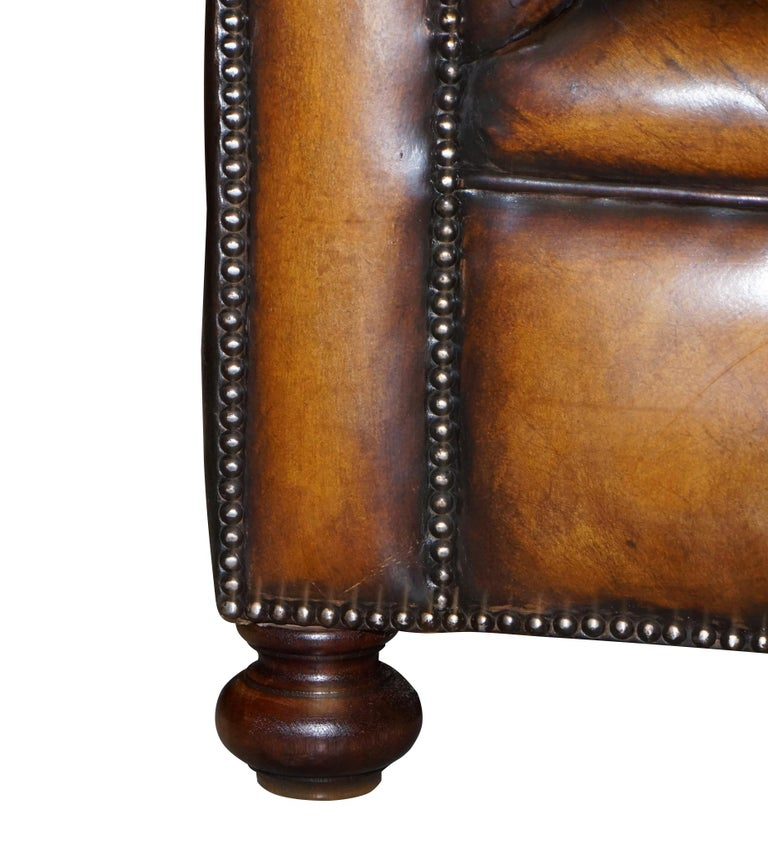 1960s Hand Dyed Restored Cigar Brown Leather Chesterfield Club Sofa English For Sale 7