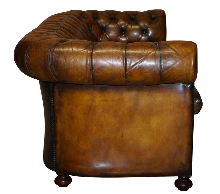 1960s Hand Dyed Restored Cigar Brown Leather Chesterfield Club Sofa English For Sale 8