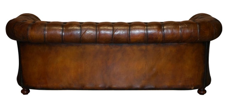 1960s Hand Dyed Restored Cigar Brown Leather Chesterfield Club Sofa English For Sale 9