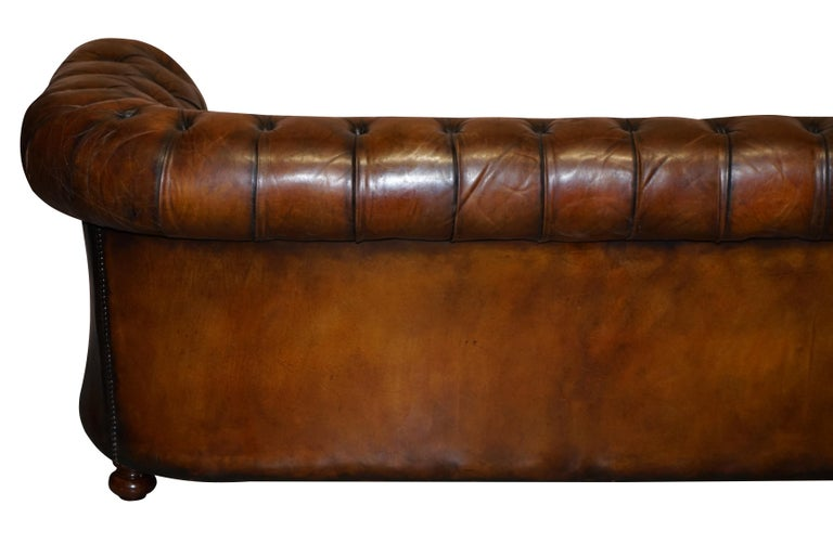 1960s Hand Dyed Restored Cigar Brown Leather Chesterfield Club Sofa English For Sale 10