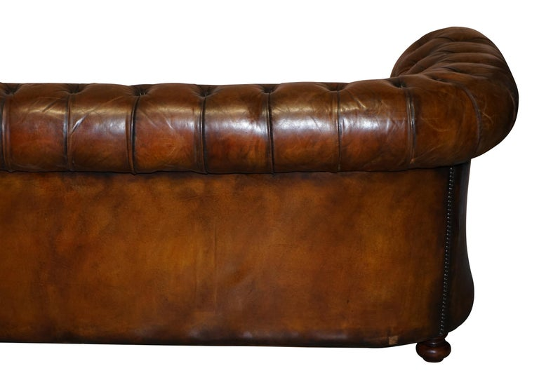 1960s Hand Dyed Restored Cigar Brown Leather Chesterfield Club Sofa English For Sale 11