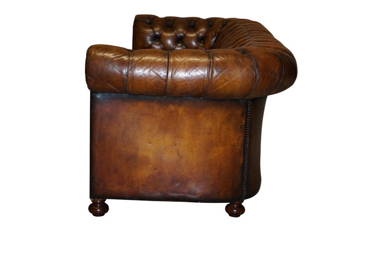 1960s Hand Dyed Restored Cigar Brown Leather Chesterfield Club Sofa English For Sale 12