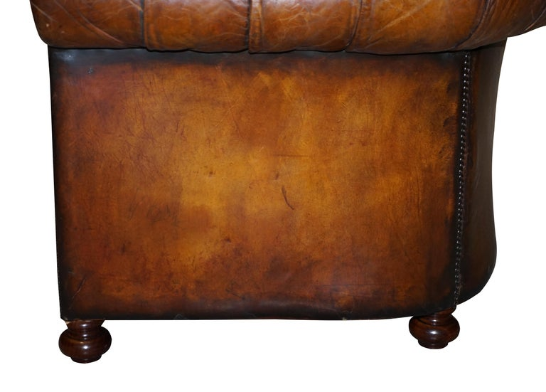 1960s Hand Dyed Restored Cigar Brown Leather Chesterfield Club Sofa English For Sale 13