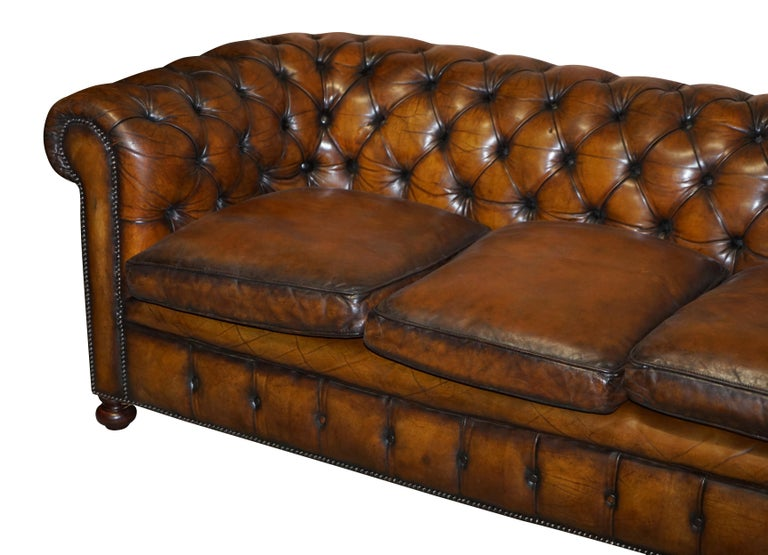 Mid-Century Modern 1960s Hand Dyed Restored Cigar Brown Leather Chesterfield Club Sofa English For Sale