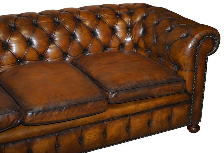 Hand-Crafted 1960s Hand Dyed Restored Cigar Brown Leather Chesterfield Club Sofa English For Sale