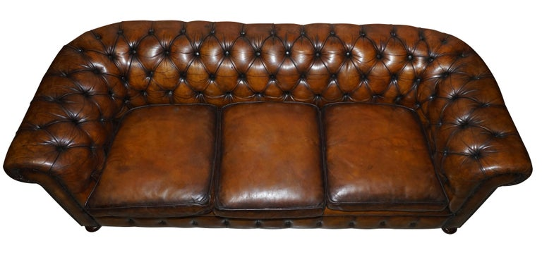 1960s Hand Dyed Restored Cigar Brown Leather Chesterfield Club Sofa English In Good Condition For Sale In London, GB