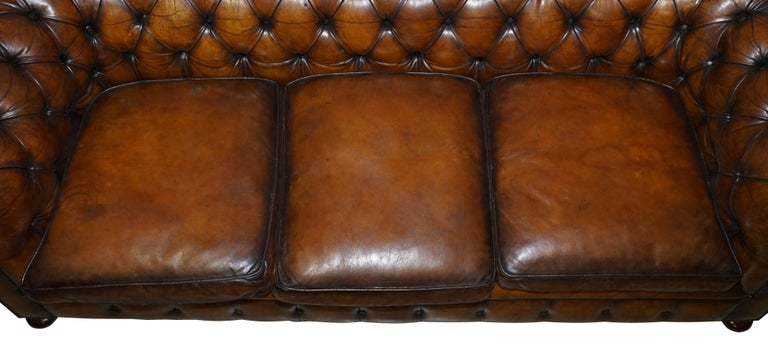 Mid-20th Century 1960s Hand Dyed Restored Cigar Brown Leather Chesterfield Club Sofa English For Sale