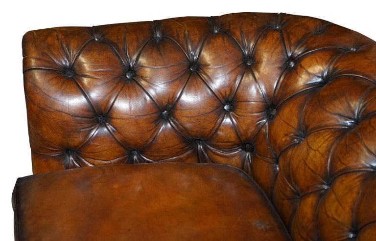 1960s Hand Dyed Restored Cigar Brown Leather Chesterfield Club Sofa English For Sale 1