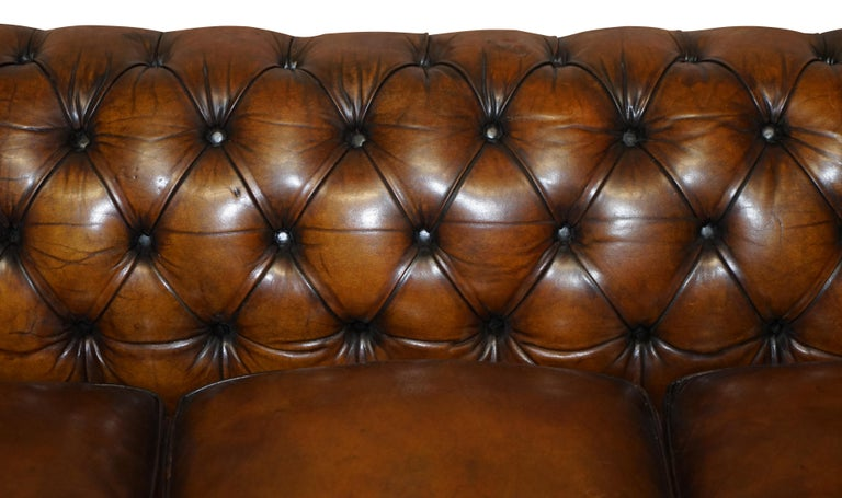 1960s Hand Dyed Restored Cigar Brown Leather Chesterfield Club Sofa English For Sale 2