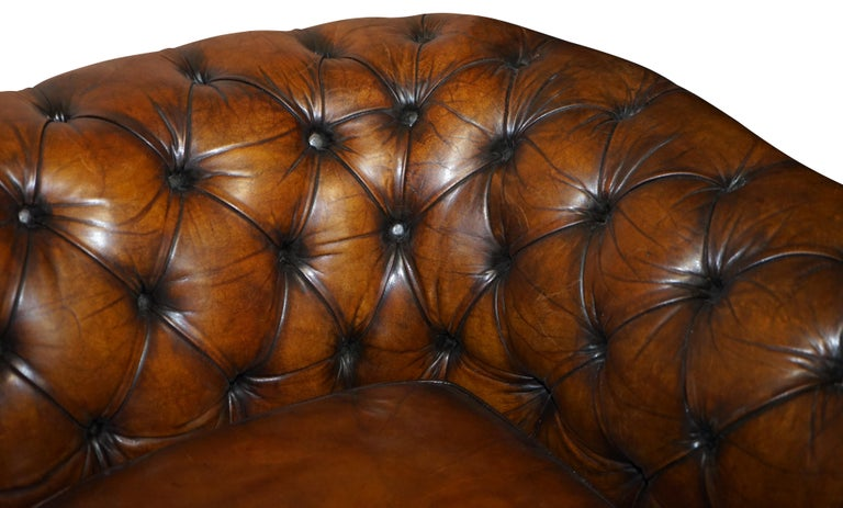 1960s Hand Dyed Restored Cigar Brown Leather Chesterfield Club Sofa English For Sale 3