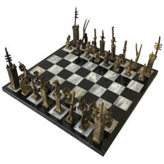 1960s Hand Made African Brass Chess Set on Marble Board
