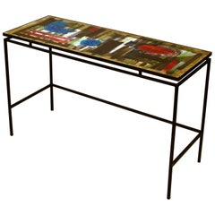 Hand Painted Ceramic Tile Console or Desk on Black Metal Frame by Belarti