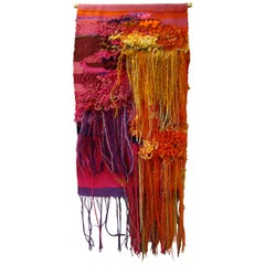 1960s Handwoven Abstract Wall Tapestry