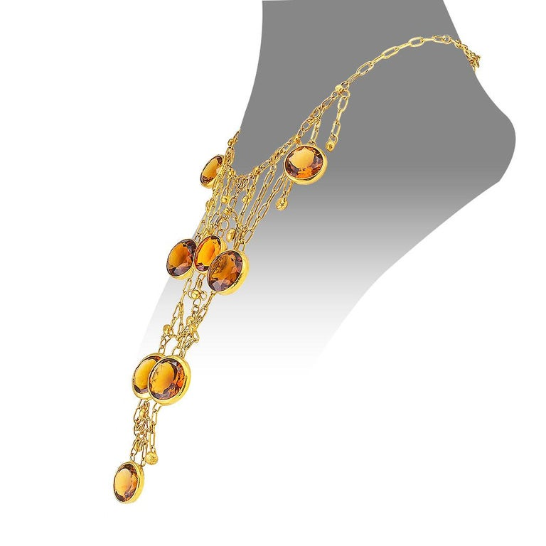 Artisan 1960s Handmade Citrine Gold Bib Necklace For Sale