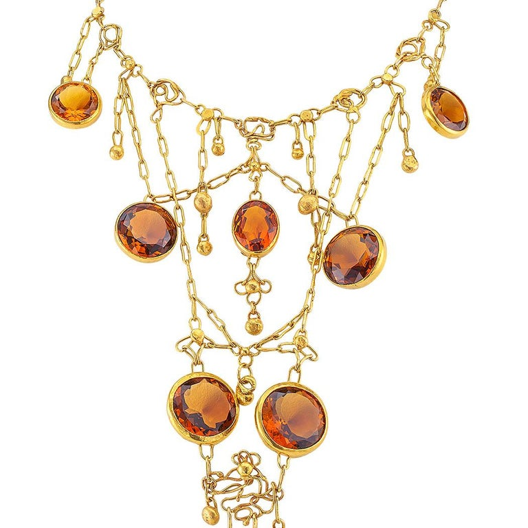1960s Handmade Citrine Gold Bib Necklace In Good Condition For Sale In Los Angeles, CA