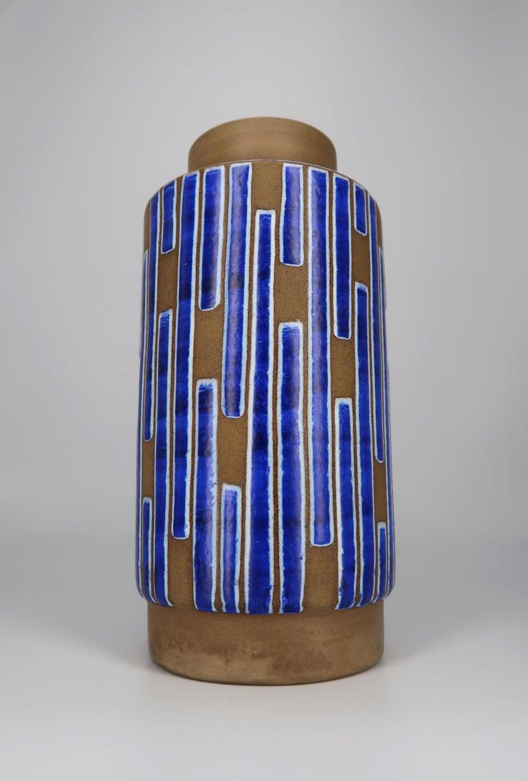 Mid-Century Modern 1960s Handmade Danish Ceramic Cobalt Blue Striped Vase by Schollert Keramik For Sale