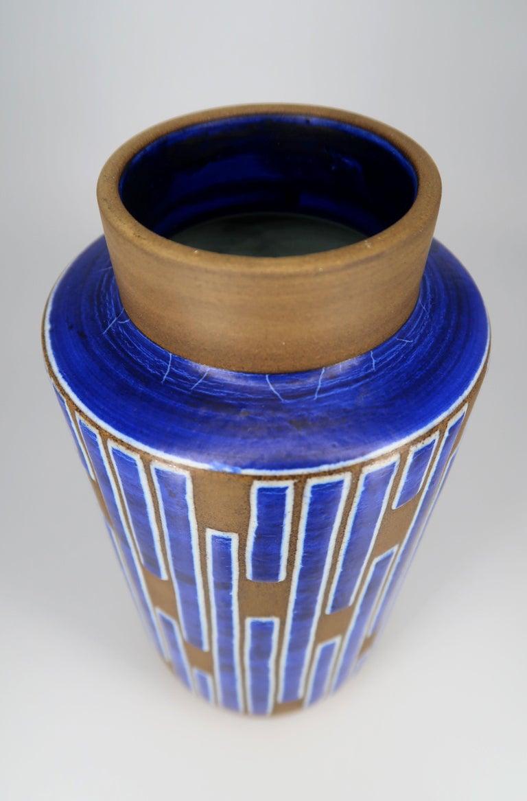 Mid-20th Century 1960s Handmade Danish Ceramic Cobalt Blue Striped Vase by Schollert Keramik For Sale