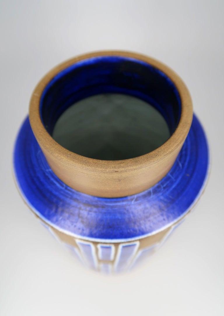 1960s Handmade Danish Ceramic Cobalt Blue Striped Vase by Schollert Keramik For Sale 1