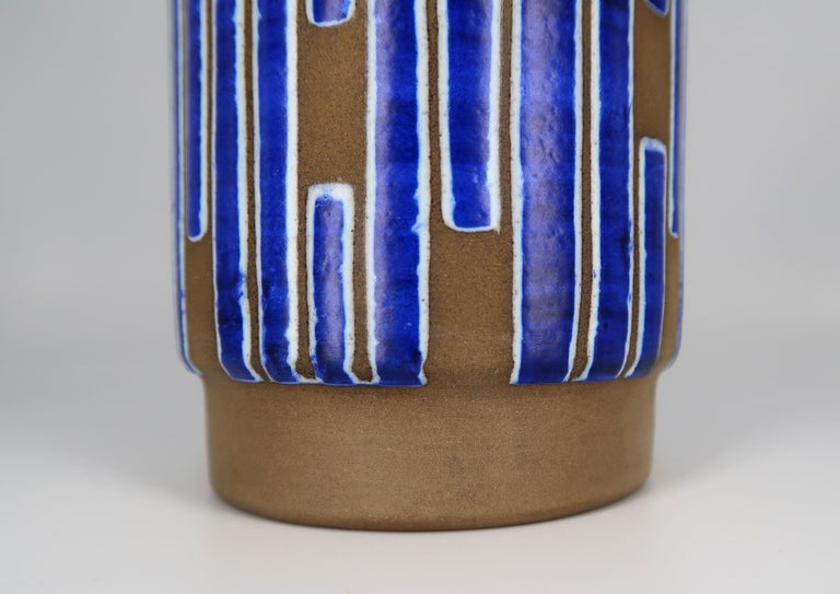 1960s Handmade Danish Ceramic Cobalt Blue Striped Vase by Schollert Keramik For Sale 2