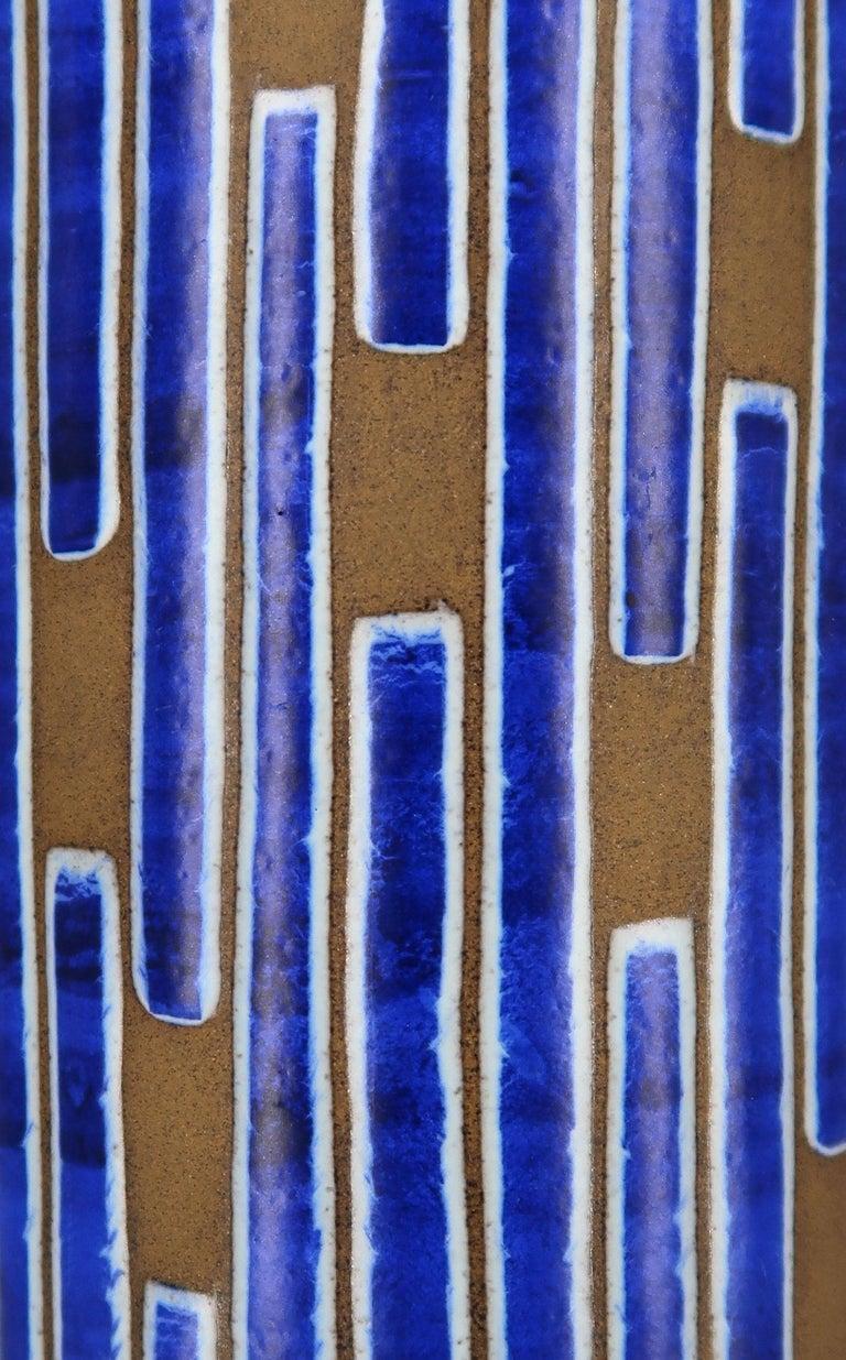 1960s Handmade Danish Ceramic Cobalt Blue Striped Vase by Schollert Keramik For Sale 3