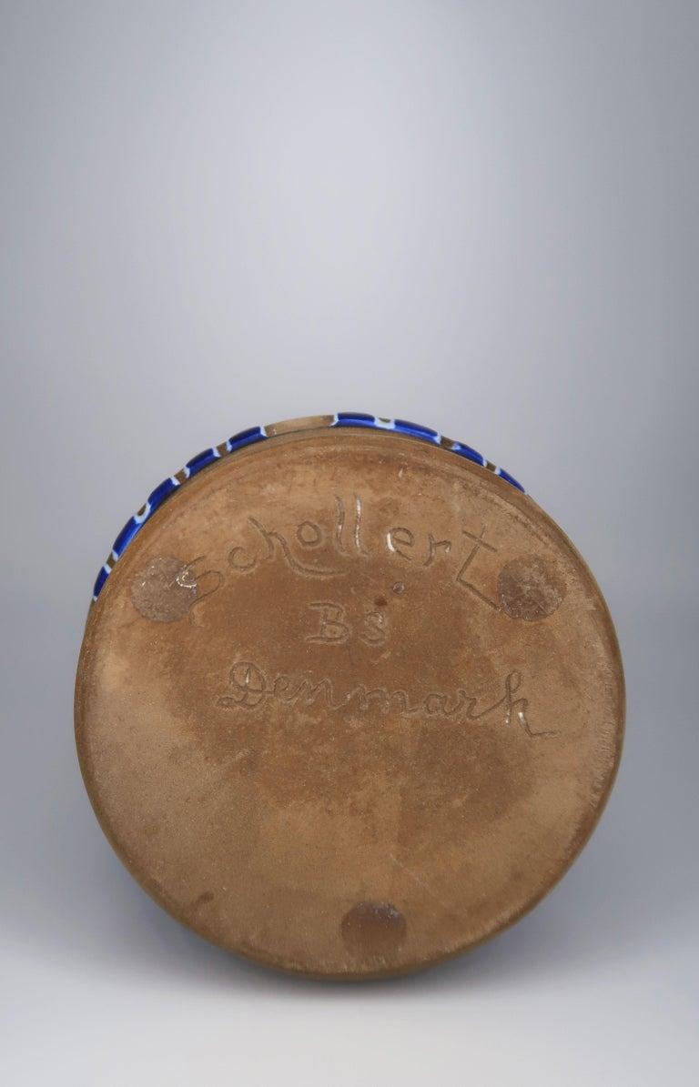 1960s Handmade Danish Ceramic Cobalt Blue Striped Vase by Schollert Keramik For Sale 4