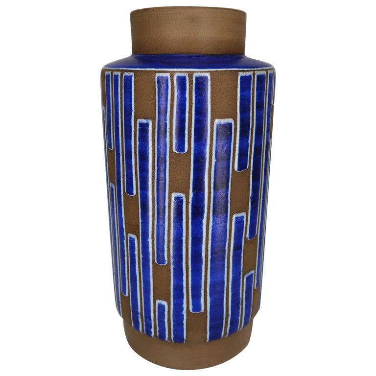 1960s Handmade Danish Ceramic Cobalt Blue Striped Vase by Schollert Keramik For Sale