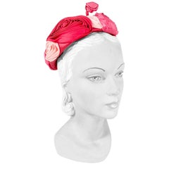 1960s Handmade Satin Rose Hat
