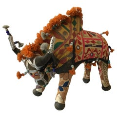 1960s Handmade Stuffed Bull Toy from India