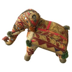 1960s Handmade Stuffed Elephant Toy from India
