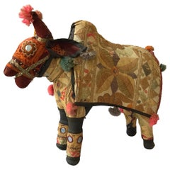 1960s Handmade Stuffed Ox Toy from India