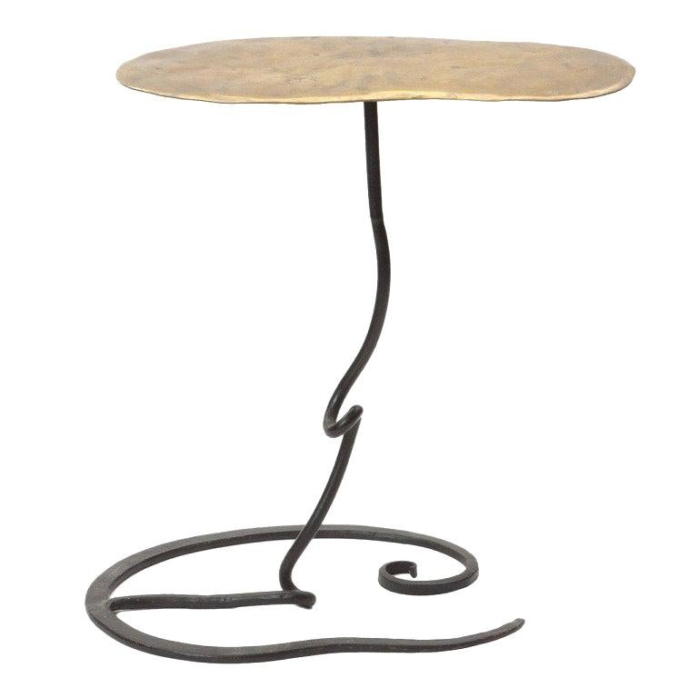 1960s Handwrought American Craftsman Bronze and Iron End Table For Sale