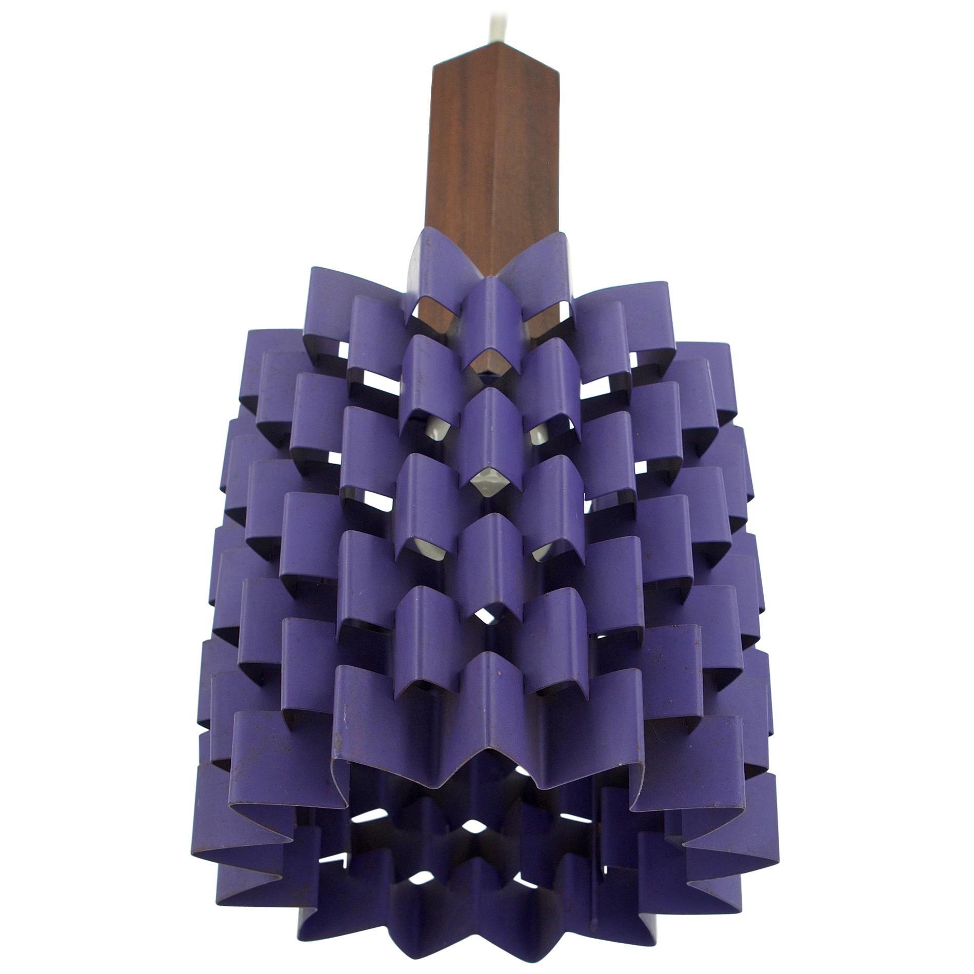 1960s Hanging Purple Pineapple Pendant Lamp with Teak Lyfa Folsgaard Danish