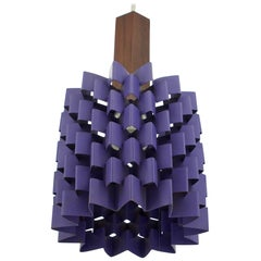 1960s Hanging Purple Pineapple Pendant Lamp with Teak Lyfa Folsgaard Danish
