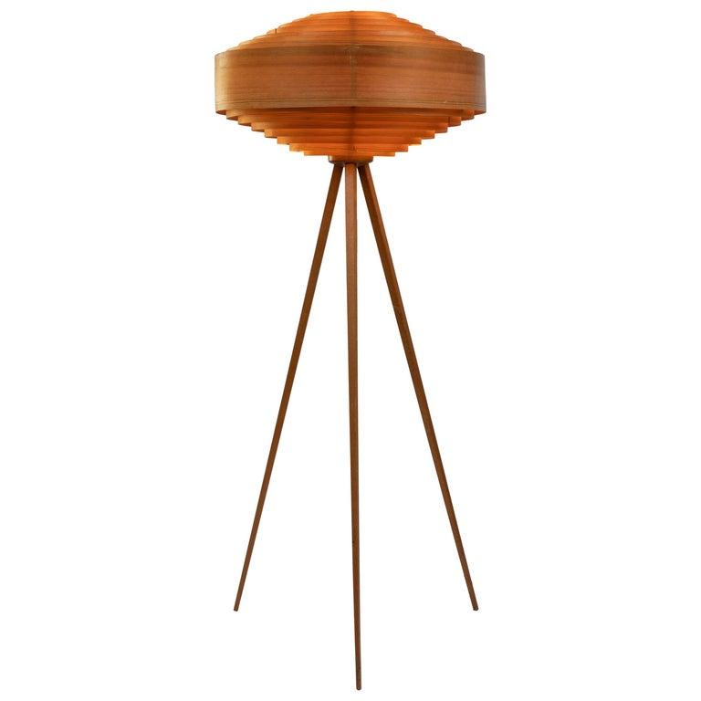 1960s Hans Agne Jakobsson Wood Tripod Floor Lamp For Ab Ellysett